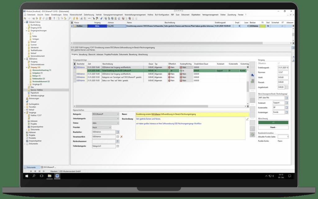 GSD Software® DOCUframe - Customer-Relationshipmanagement (CRM) - Vertriebsvorgang