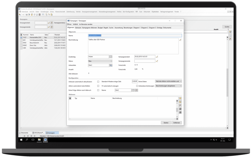 GSD Software® DOCUframe - Customer-Relationshipmanagement (CRM) - Adresslisten anlegen