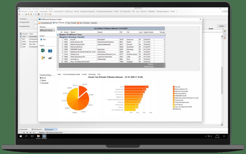 GSD Software® DOCUframe - Customer-Relationshipmanagement (CRM) - Detaillierte Auswertung