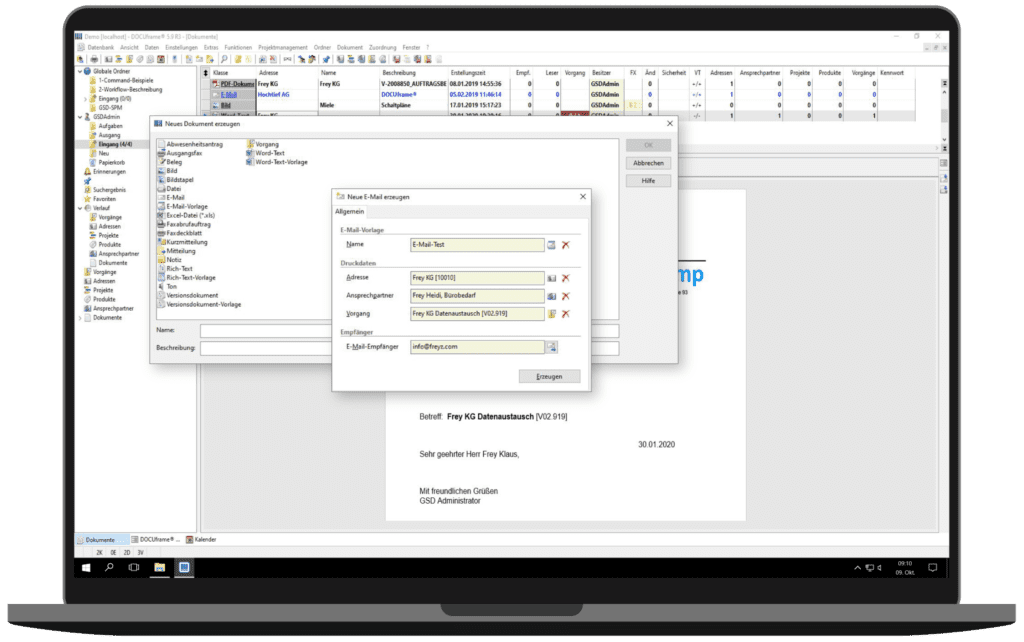 GSD Software® DOCUframe - Dokumentenmanagementsystem (DMS) - Dokumente erstellen
