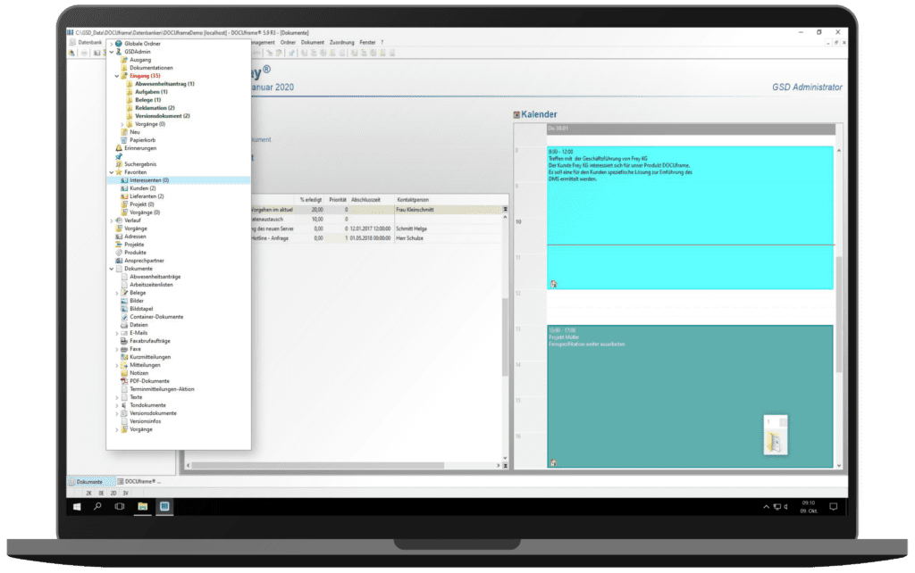 GSD Software® DOCUframe - Dokumentenmanagementsystem (DMS) - Ordnerstruktur mit Favoriten