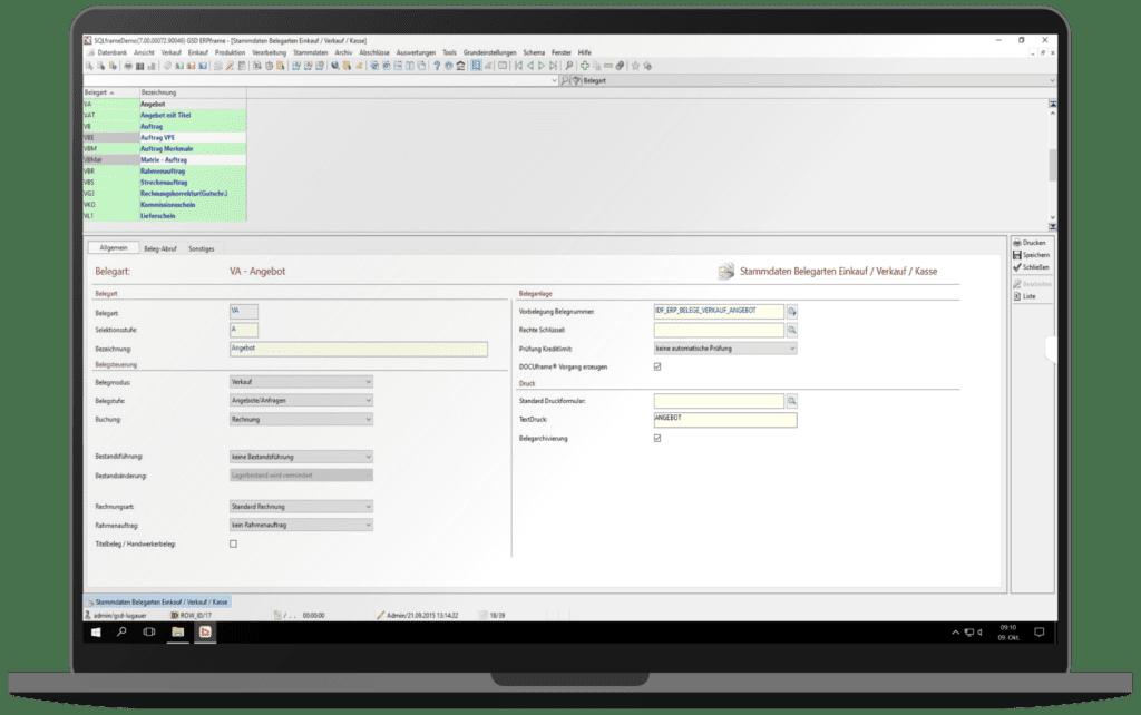 GSD Software - ERPframe - Belegverwaltung