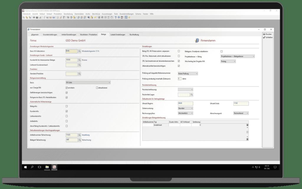 GSD Software - ERPframe - Firmenstamm