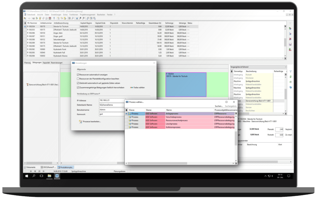 GSD Software- ERPframe - Produktion - Leitstand - manuelle Ressourcenbelegung - Dialog