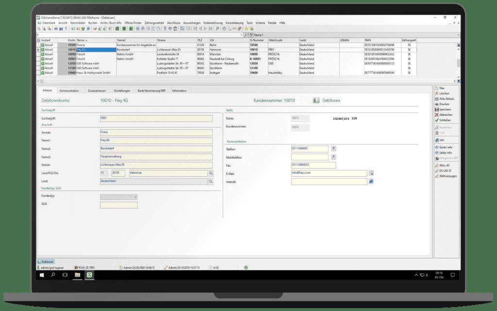 GSD Software - FIBUframe - Kundenstamm