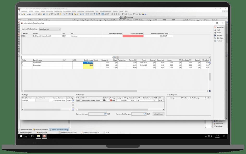 GSD Software - ERPframe - Fremdfertigung Bestellvorschlag